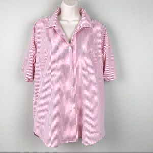VTG 80s Red White Candy Striped Summer Shirt
